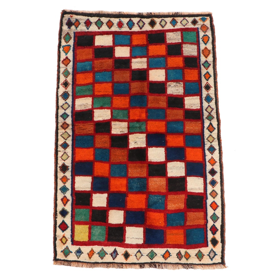 Hand-Knotted Persian Gabbeh Wool Rug