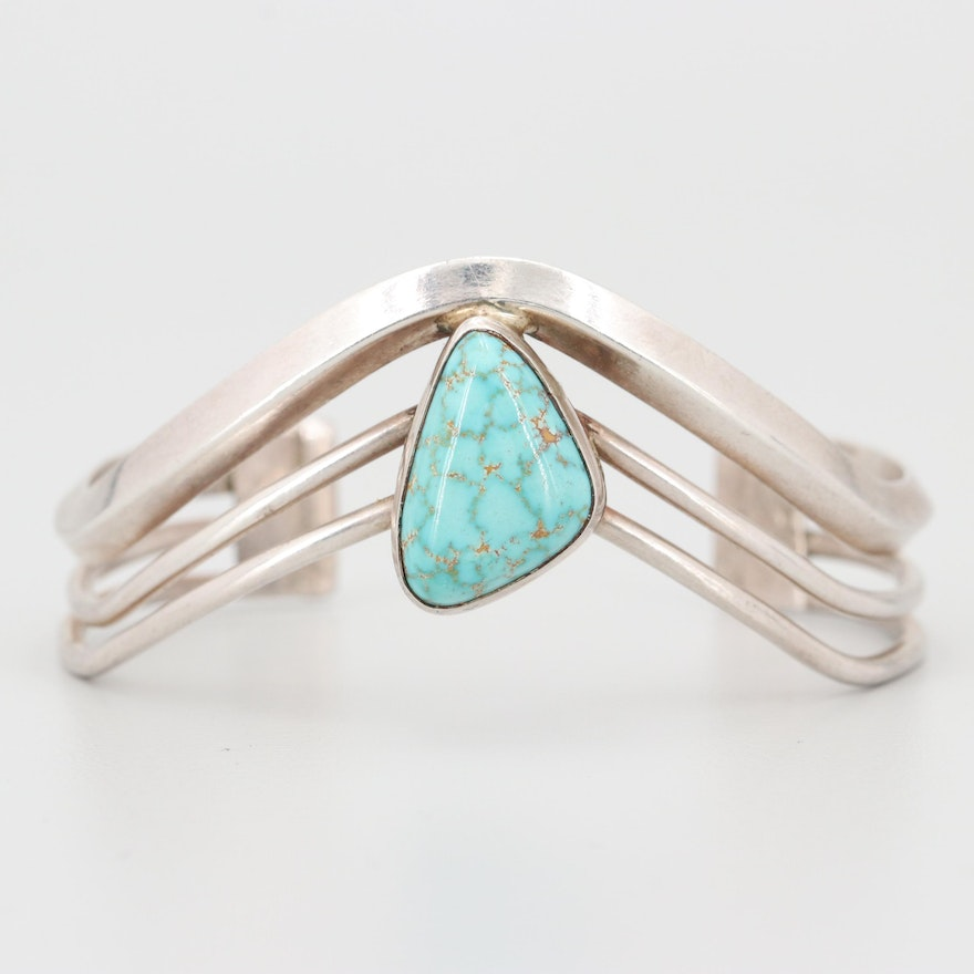 Sterling Silver and Howlite Cuff Bracelet