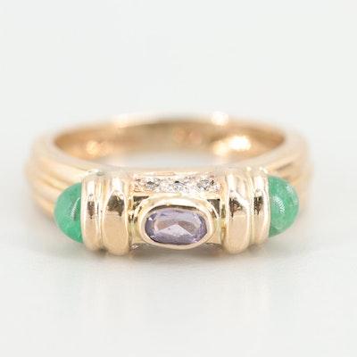 14K Yellow Gold Emerald, Amethyst, and Diamond Ring