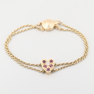 14K Yellow Gold Ruby and Diamond Heart Charm Bracelet