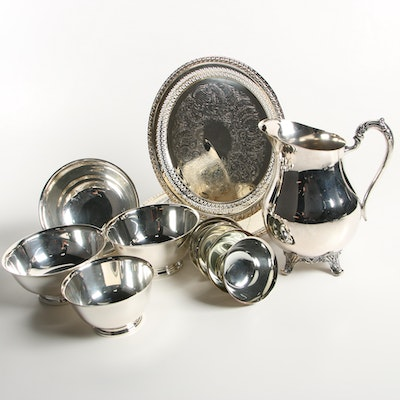 Revere Reproduction Silver Plate Serving Bowls with other Serveware