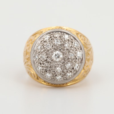 18K Yellow Gold Diamond Floral Ring with White Gold Accents