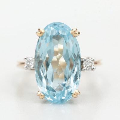 14K Yellow Gold 6.35 CT Aquamarine and Diamond Ring