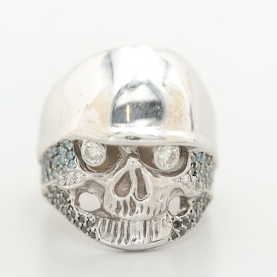 14K White Gold Diamond Skull Ring