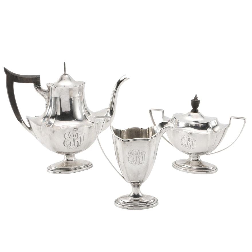 "Gorham ""Plymouth"" Sterling Silver Three-Piece Tea Set"