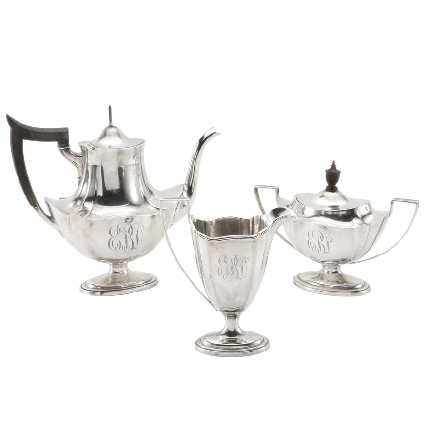 "Gorham ""Plymouth"" Sterling Silver Three-Piece Tea Set"
