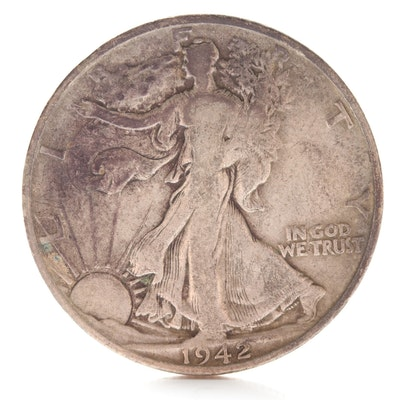 1942 S Walking Liberty Silver Half Dollar
