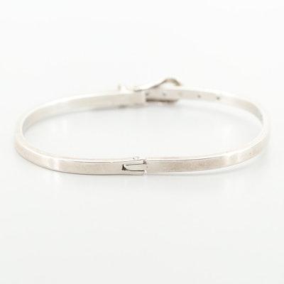 Mexican Sterling Silver Belt Buckle Motif and Adjustable Bracelet