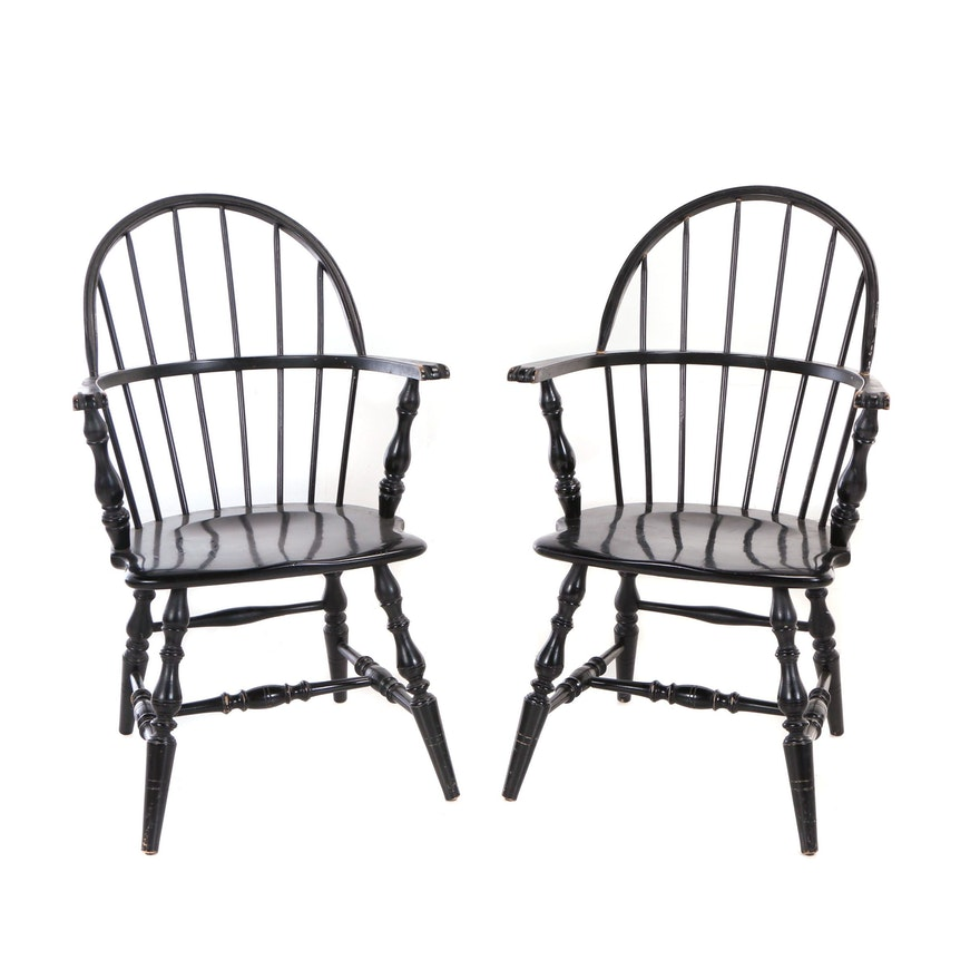 Two Ebonized Sack-Back Windsor Armchairs, 20th Century