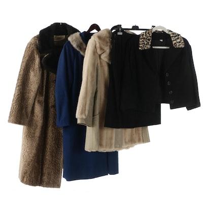 D'Esprit and Gloria Gay Faux Fur Coats with Skirt Suit,1960s-70s Vintage