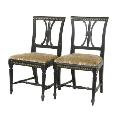 Pair of Black Painted Carved Gustavian Chairs with Gilt Accents, Circa 1810