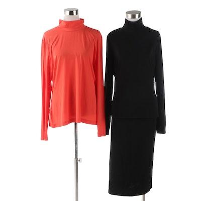 St. John Caviar and St. John Turtleneck Tops and Skirt