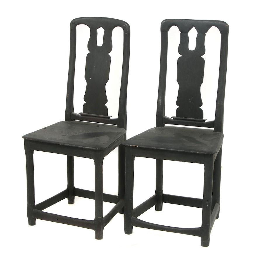 Pair of Painted Rococo Wooden Chairs, 19th Century