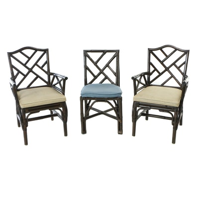 Three Rattan Patio Dining Chairs, Second Half 20th Century