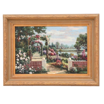 Oil Painting of Garden Scene