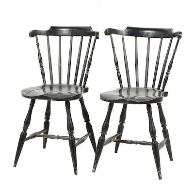 Pair of Black Painted Swedish Stick Chairs, Late 19th Century