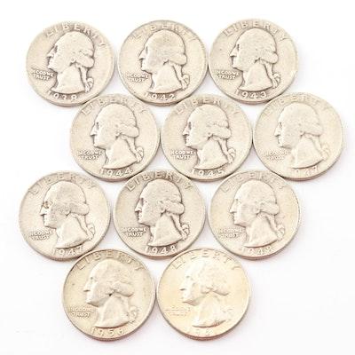Eleven Washington Silver Quarters