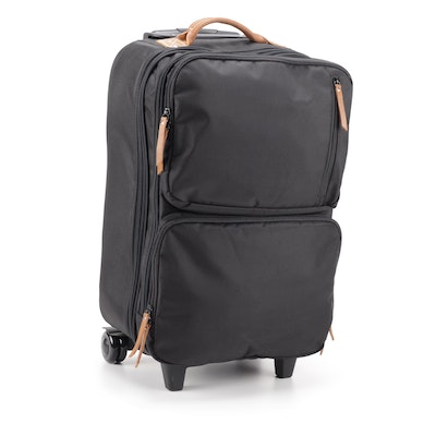 Pottery Barn Black Nylon and Leather Handled Rolling Travel Luggage