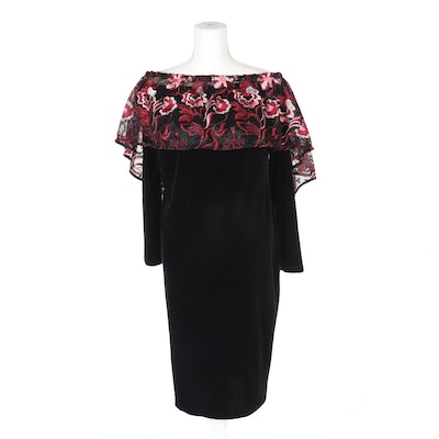 Anne Fontaine Elikia Black Long Sleeve Velvet Dress with Removable Cape