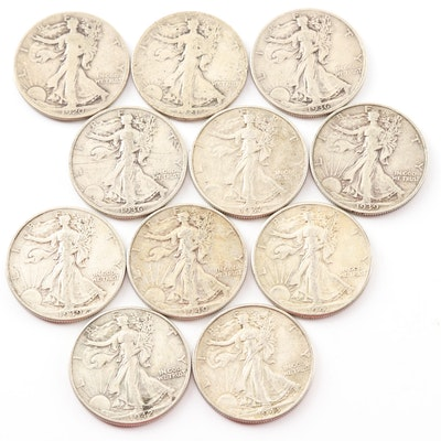 Eleven Walking Liberty Silver Half Dollar Coins