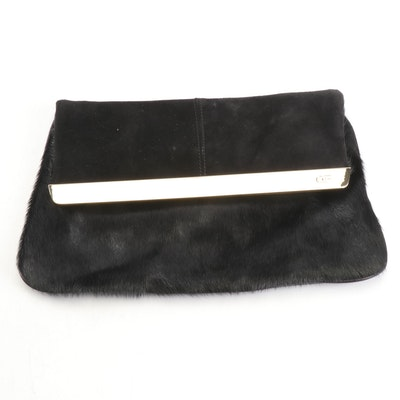Anne Fontaine Black Pony Hair Calf Skin Leather Clutch