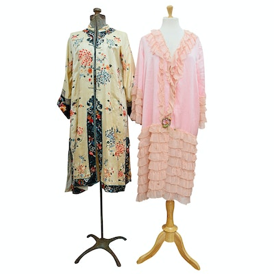 Chinese Embroidered Silk Robe and Lady Duff Ruffled Silk Robe, Vintage