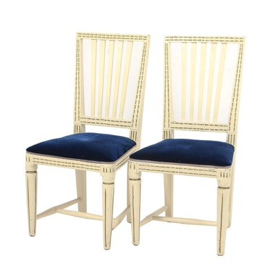 Pair of Off-White Gustavian Chairs with Gilt, Circa 1811