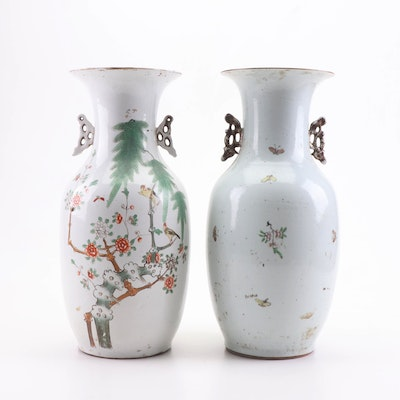 Chinese Famille Verte Porcelain Floor Vases, Late Qing/Early Republic