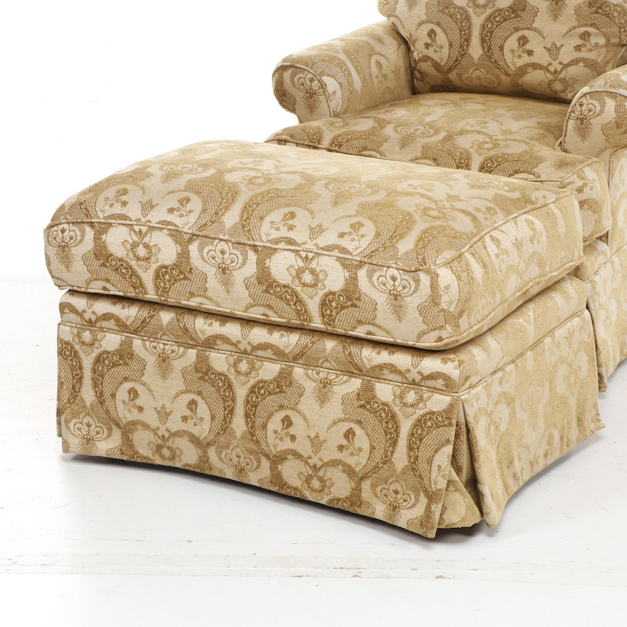 Yellow Damask Upholstered Swivel Armchair with Ottoman ...