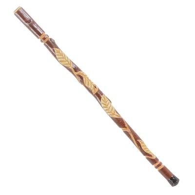 Hand-Carved Folk Art Wood Walking Stick