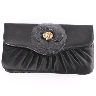 Judith Leiber New York Black Satin and Snakeskin Clutch Purse