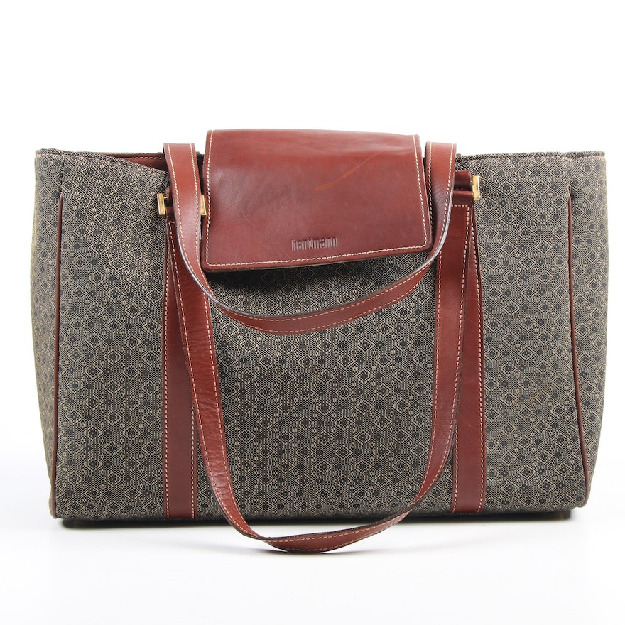 Hartmann Diamond Jacquard Laptop Tote Bag with Leather Trim
