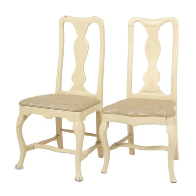 Pair of 18th Century Rococo Chairs with Cream Painted Finishes