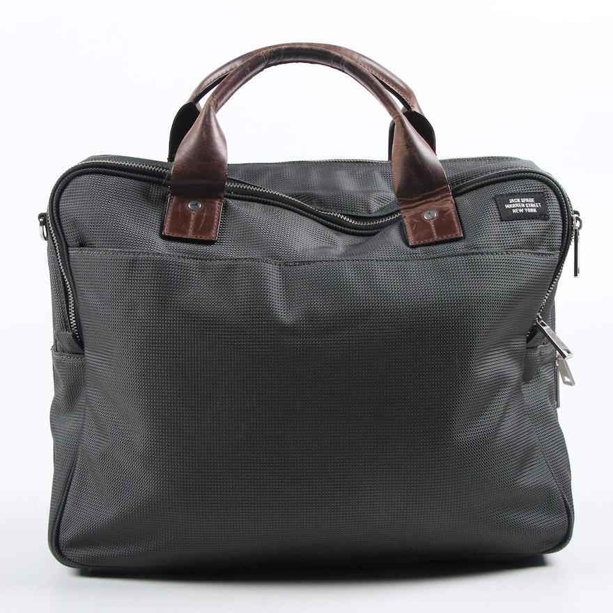 Jack Spade Black Textile Messenger Case with Brown Leather Handles
