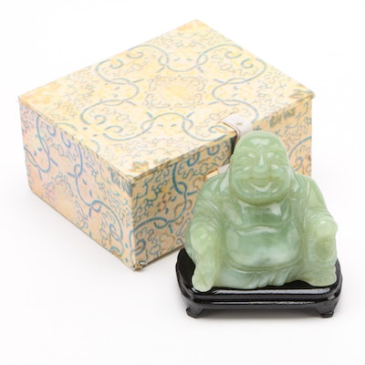 Chinese Carved Bowenite Budai Figurine with Base