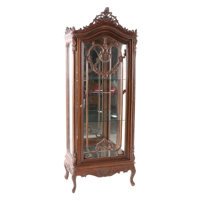 Louis XV Style Carved Wooden Vitrine Cabinet, Late 20th Century