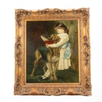 Girl Reading to Dog Copy Oil Painting