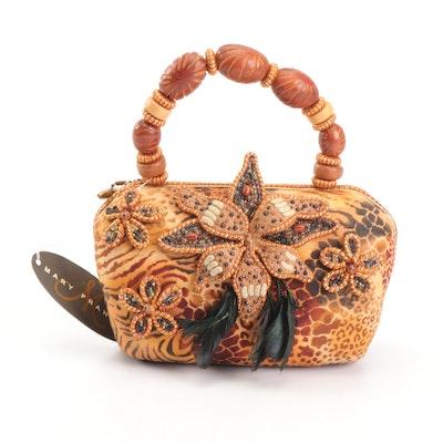 Mary Frances of San Francisco Floral and Bead Adorned Handbag With Animal Print
