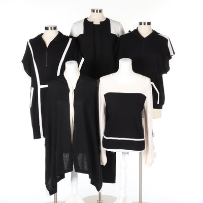 Anne Fontaine Tracksuit, Sweater and Tops with Cashmere Cloak in Black and White