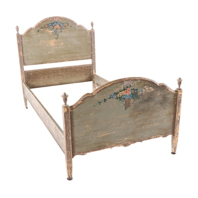 Rustic-Finish Paint-Decorated Wooden Twin Bed Frame, Early 20th Century