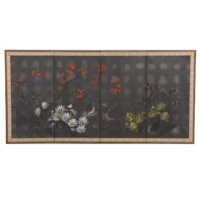 Japanese Watercolor Four Panel Screen