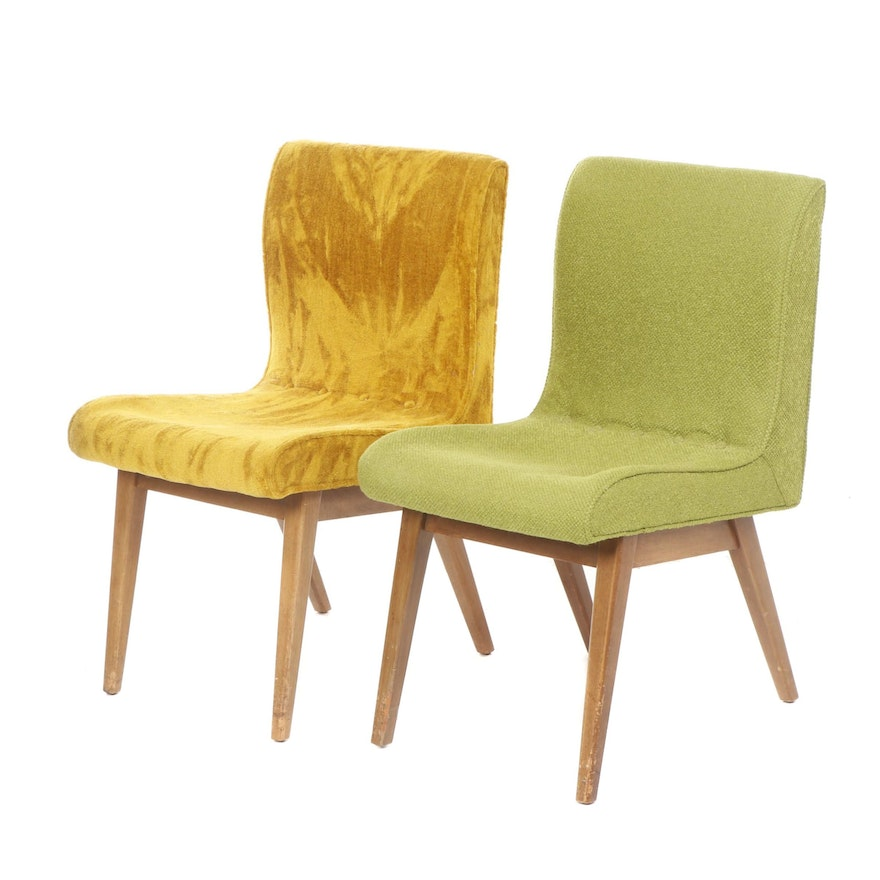 Two Modernist Chartreuse and Mustard-Upholstered Side Chairs, Mid 20th Century