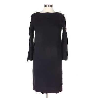 Anita Modes Black Cold-Shoulder Cocktail Dress with Rhinestone Globe Buttons