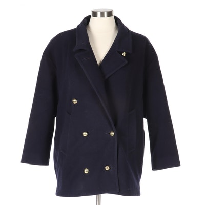 Women's Mackintosh of New England Navy Wool Double-Breasted Coat