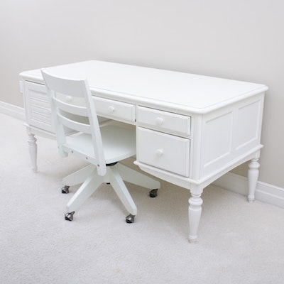 Hooker Distressed Finish Desk and Chair, Contemporary