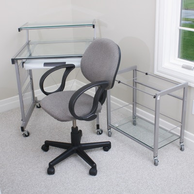 Steel and Glass Mobile Desk with File Cart and Floor Lamp