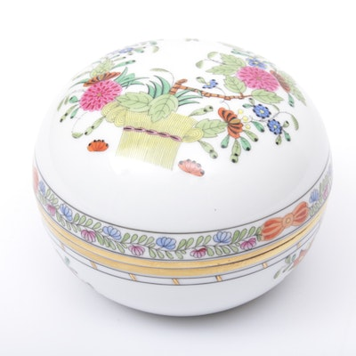 "Herend ""Indian Basket"" Porcelain Trinket Box"