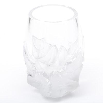 """Lalique Crystal """"Hedera"""" Ivy Motif Vase, Made in France"""