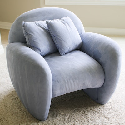 Italy 2000 Suede Armchair, Made in Italy