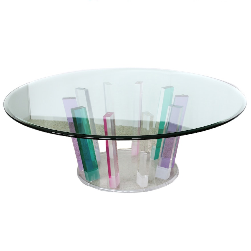 Italian Glass Coffee Table.Italy 2000 Italian Modern Acrylic And Glass Coffee Table